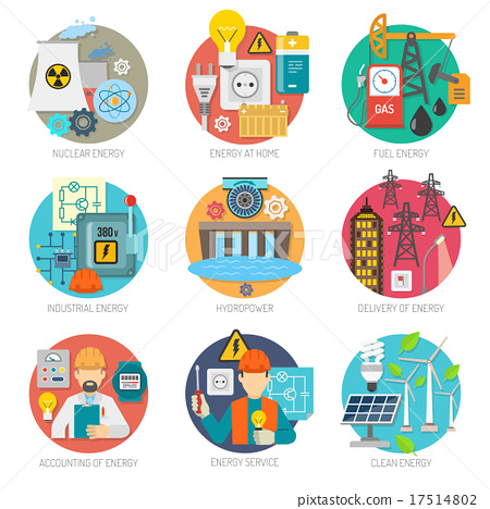 Energy flat icons composition set 17514802