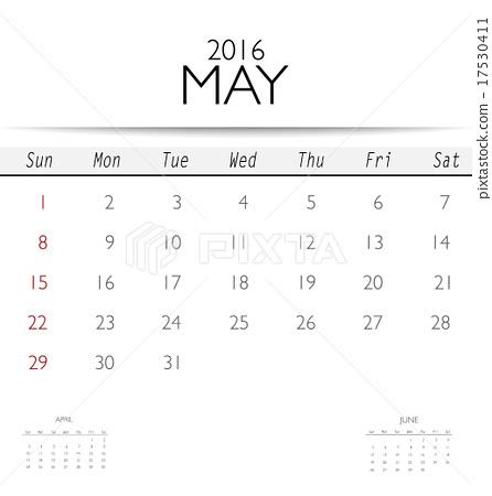 2016 calendar monthly calendar template for may vector illustr