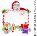 Cartoon Santa Sign 17530895