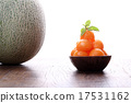 Cantaloupe melon in wooden bowl isolated on white 17531162