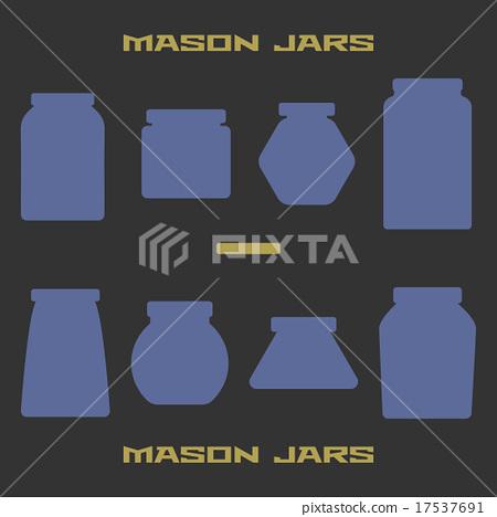 Mason jars silhouette icons set. Design suitable 17537691