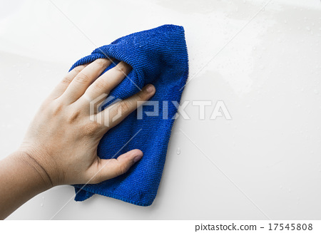 Stock Photo: blue microfiber cloth for cleaning car