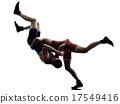 wrestlers wrestling men isolated silhouette 17549416