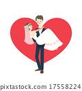 young wedding couple groom carrying bride cartoon 17558224