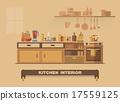 Kitchen interior element , Flat design earth tone 17559125