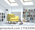modern interior white room with books and sofa 17563998