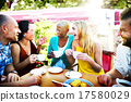 Diverse People Coffee Shop Outdoors Chat Concept 17580029