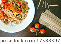 Japanese buckwheat soba noodles on brown wooden background 17588397