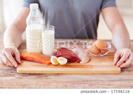 close up of male hands with food rich in protein 17598116