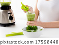 close up of woman with blender and green smoothie 17598448