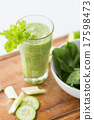 close up of fresh green juice glass and celery 17598473