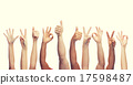 human hands showing thumbs up, ok and peace signs 17598487