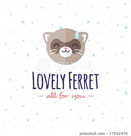 Vector cartoon ferret head logo. Flat logotype. 17602976