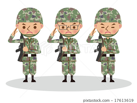 Self-defense officers and soldiers who salute    - Stock