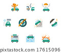 Colored vector icons for car insurance 17615096