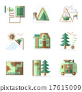 Camping flat color vector icons set 17615099