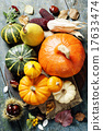 Autumn concept with seasonal fruits and vegetables 17633474