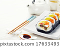 Sushi set, green tea and sakura branch 17633493
