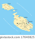 Malta Political Map 17640825
