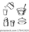 Dough, butter, milk, flour and spices sketch 17641920