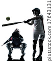 women playing softball players silhouette isolated 17643131