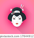 colored flat style geisha face illustration. 17644912