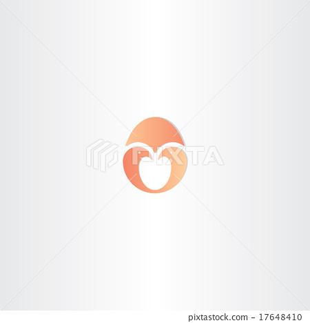 little bird twin in egg vector logo 17648410