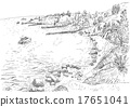 Sea coast with piers and rocky shore 17651041