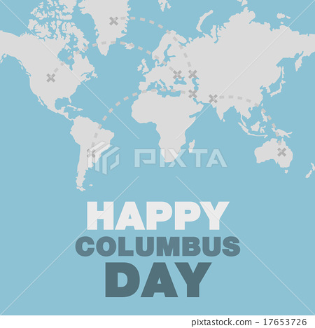 Christopher Columbus day poster map and ocean 17653726