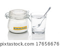 Baking soda in jar, spoonful and glass of water 17656676