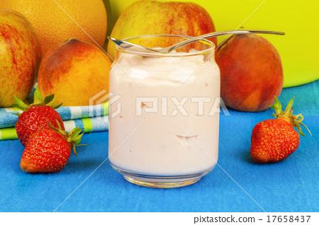 Fresh strawberry yogurt with fruit around  17658437