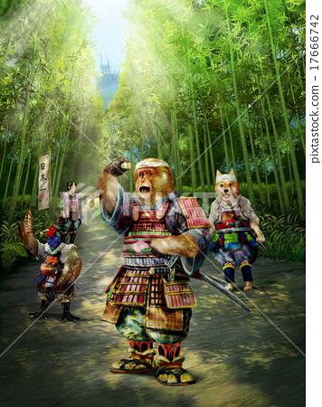 桃太郎的仆人的猴子很高兴有Kibi饺子 17666742