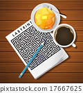 labyrinth game with coffee cup and pancake 17667625