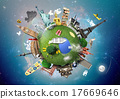 Small planet with landmarks around the world 17669646