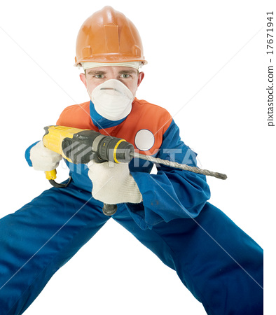 Labourer with hand drill 17671941