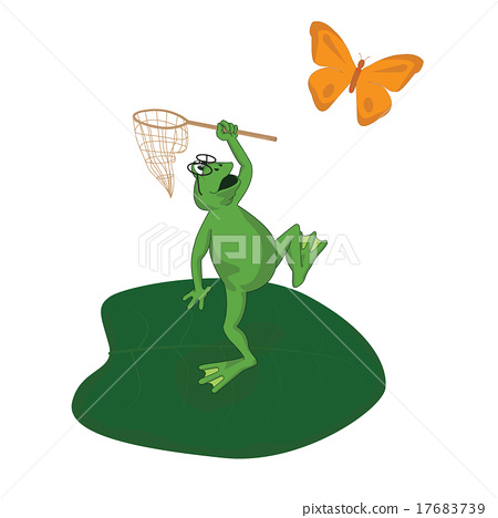 frog catches a butterfly 17683739