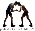 wrestlers wrestling men isolated silhouette 17688621