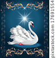 Elegant white swan and golden ornament 17691554