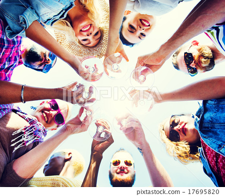 Stock Photo: Celebration Champagne Looking Down Friends Concept