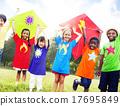 Children Flying Kite Playful Friendship Concept 17695849