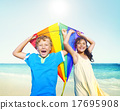 Children Playing Kite Happiness Cheerful Beach Summer Concept 17695908