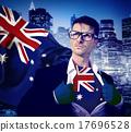 Businessman Superhero Country Australian Flag Culture Power Conc 17696528