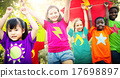 Children Flying Kite Playful Friendship Concept 17698897