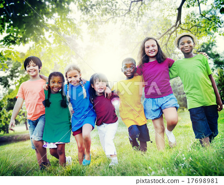 Stock Photo: Children Friendship Togetherness Smiling Happiness Concept