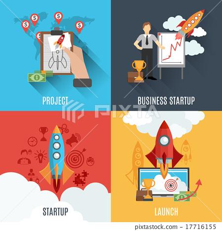 Rocket startup flat square composition poster 17716155