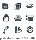 Print icons set elegant series 17718807