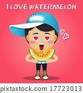 happy man carrying big sliced watermelon 17723013