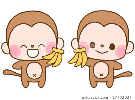 可愛系列猴子人物插圖削減2點設置(與香蕉)年·新年的材料 17732927