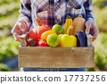 Young woman holding wooden crate with vegetables 17737256