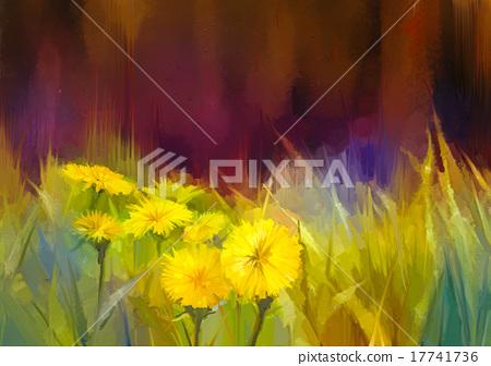 Stock Illustration: Oil painting nature grass flowers-yellow dandelion